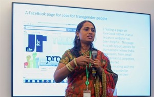 Kalki doing a presentation on the project at FaceBook office Mumbai.